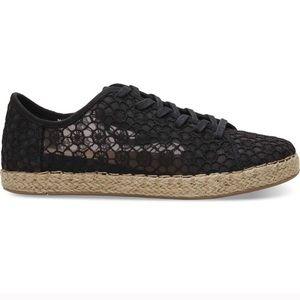 Women's Black Lace Toms Sneakers Size 9.5